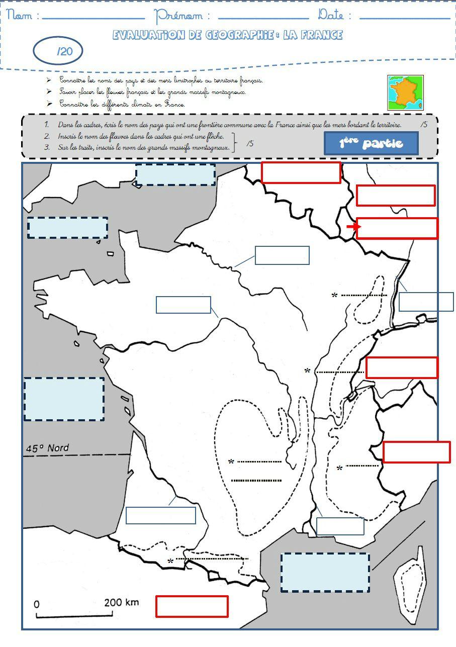 Géographie : Une Évaluation Sur La France (Frontières destiné Carte Des Fleuves De France
