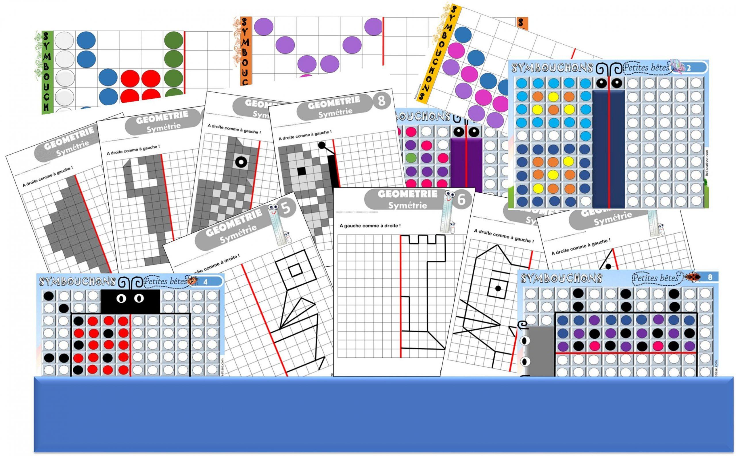 Geometrie : Ateliers Symétrie Et Exercices • Recreatisse tout Exercice Symétrie Ce1