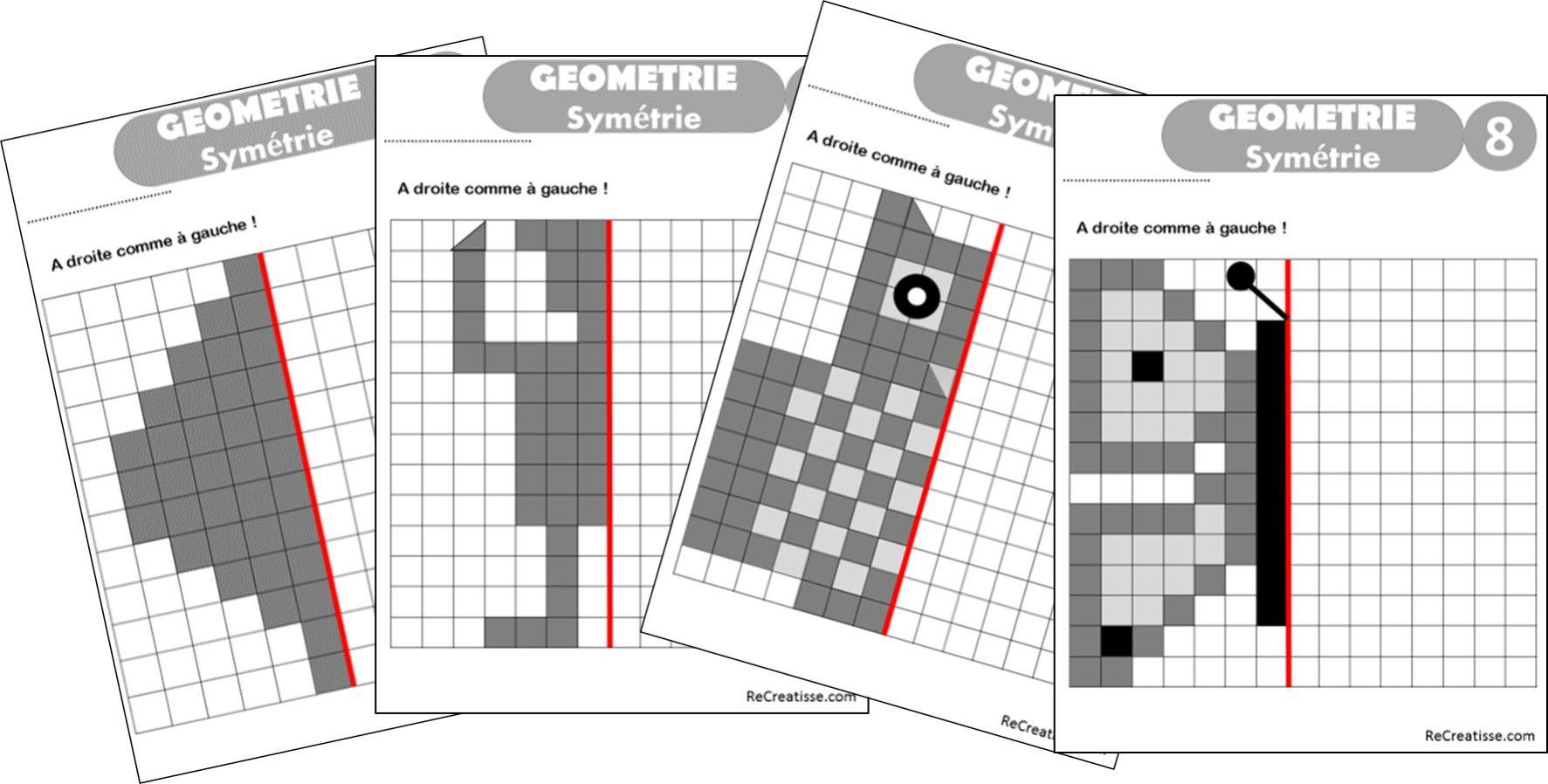 Geometrie : Ateliers Symétrie Et Exercices | Géométrie, Axe avec Exercice Symétrie Ce1