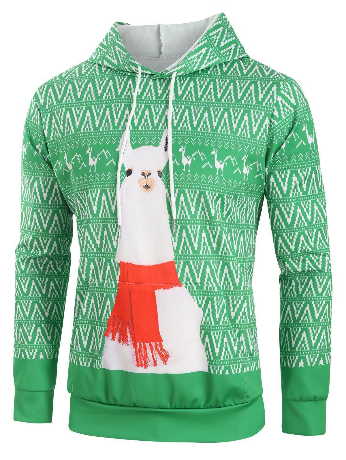 Géométrique Mouton Noël Imprimer Drawstring Hoodie destiné Photo De Mouton A Imprimer