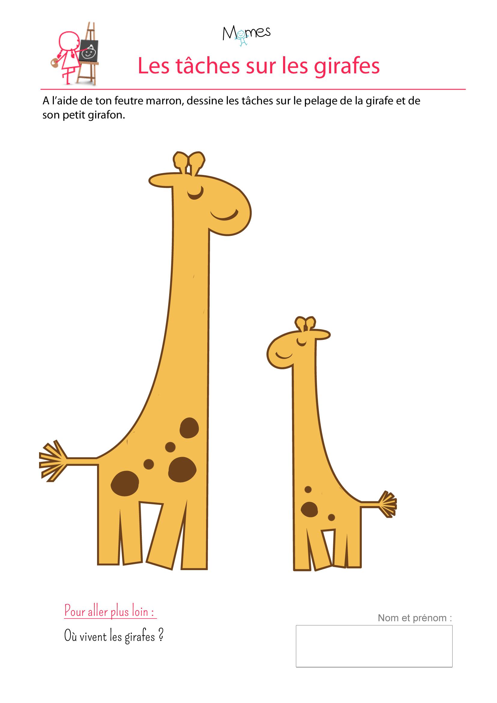 Girafes : Exercice De Dessin - Momes à Jeux À Imprimer 3 Ans