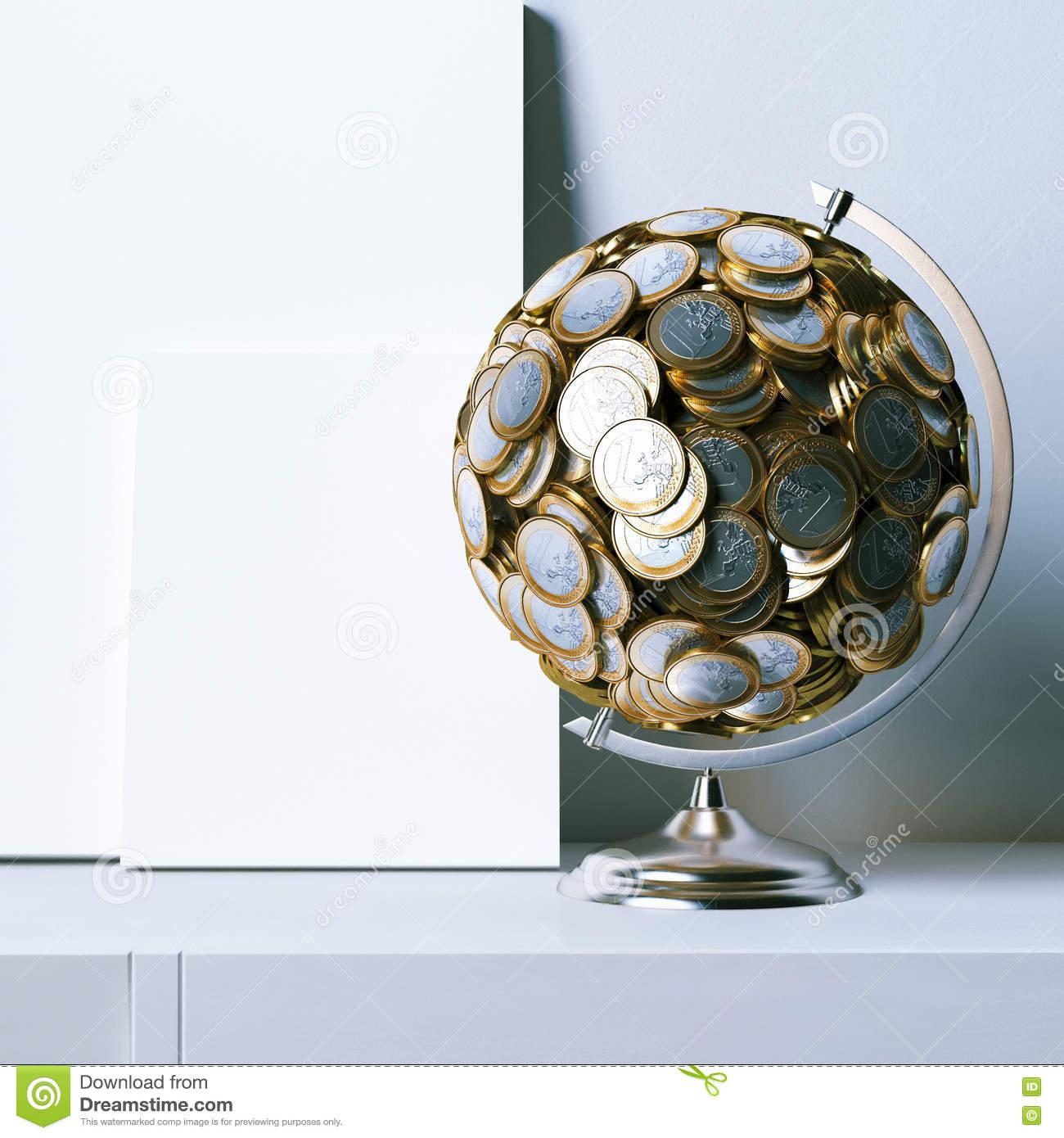 Globe Créé D'euro Pièces De Monnaie Et De Fausse Affiche avec Fausses Pieces Euros