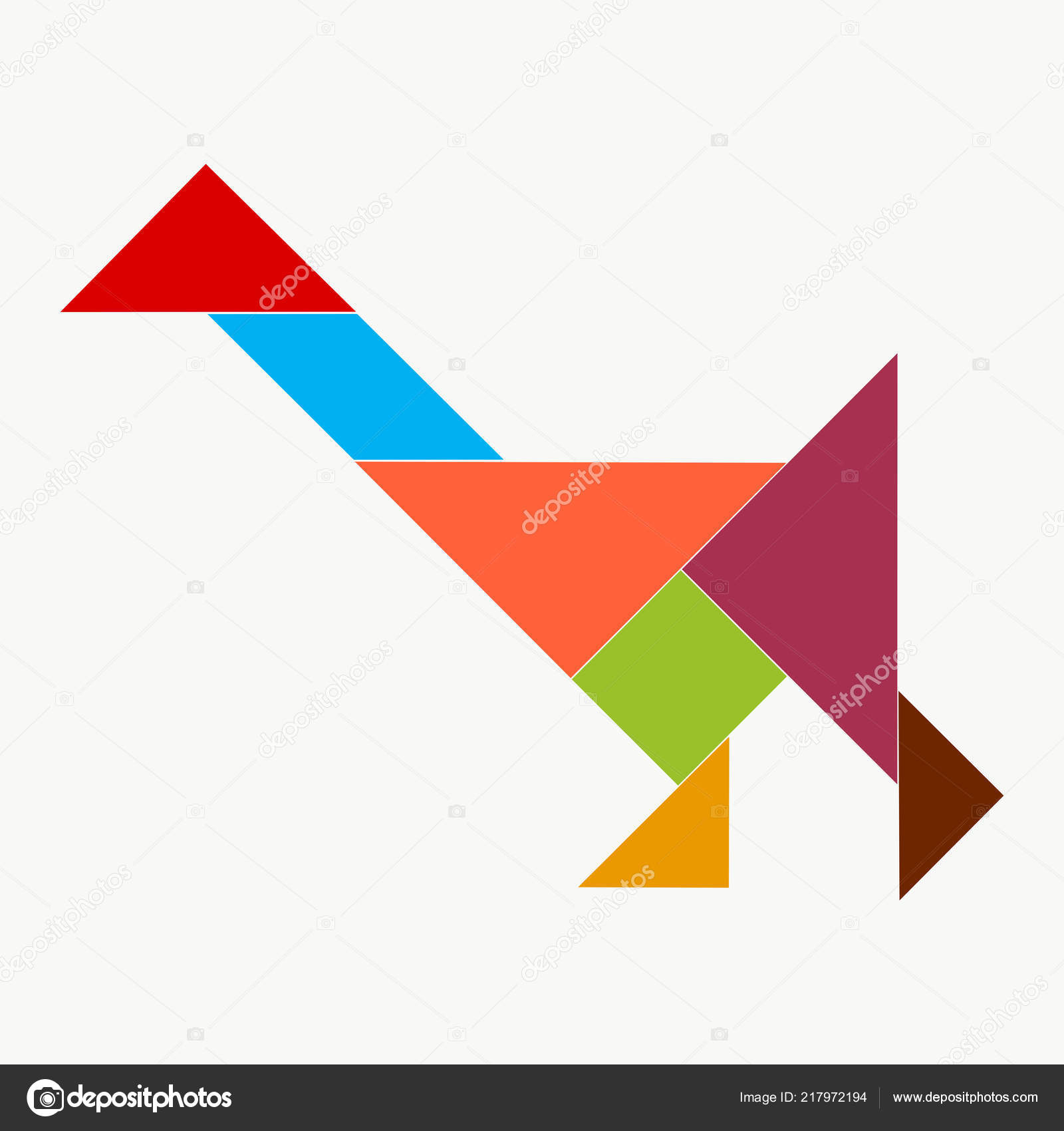 Going Goose Pieces Puzzle Tangram — Stock Photo pour Pièces Tangram