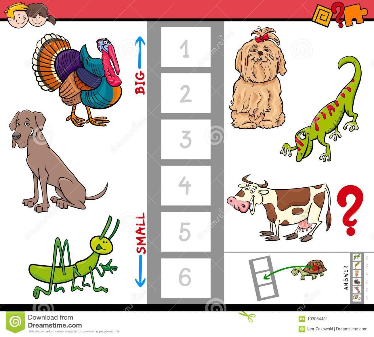 Grand Et Petit Jeu D'animaux Pour Des Enfants Illustration dedans Apprendre Les Animaux Jeux Éducatifs