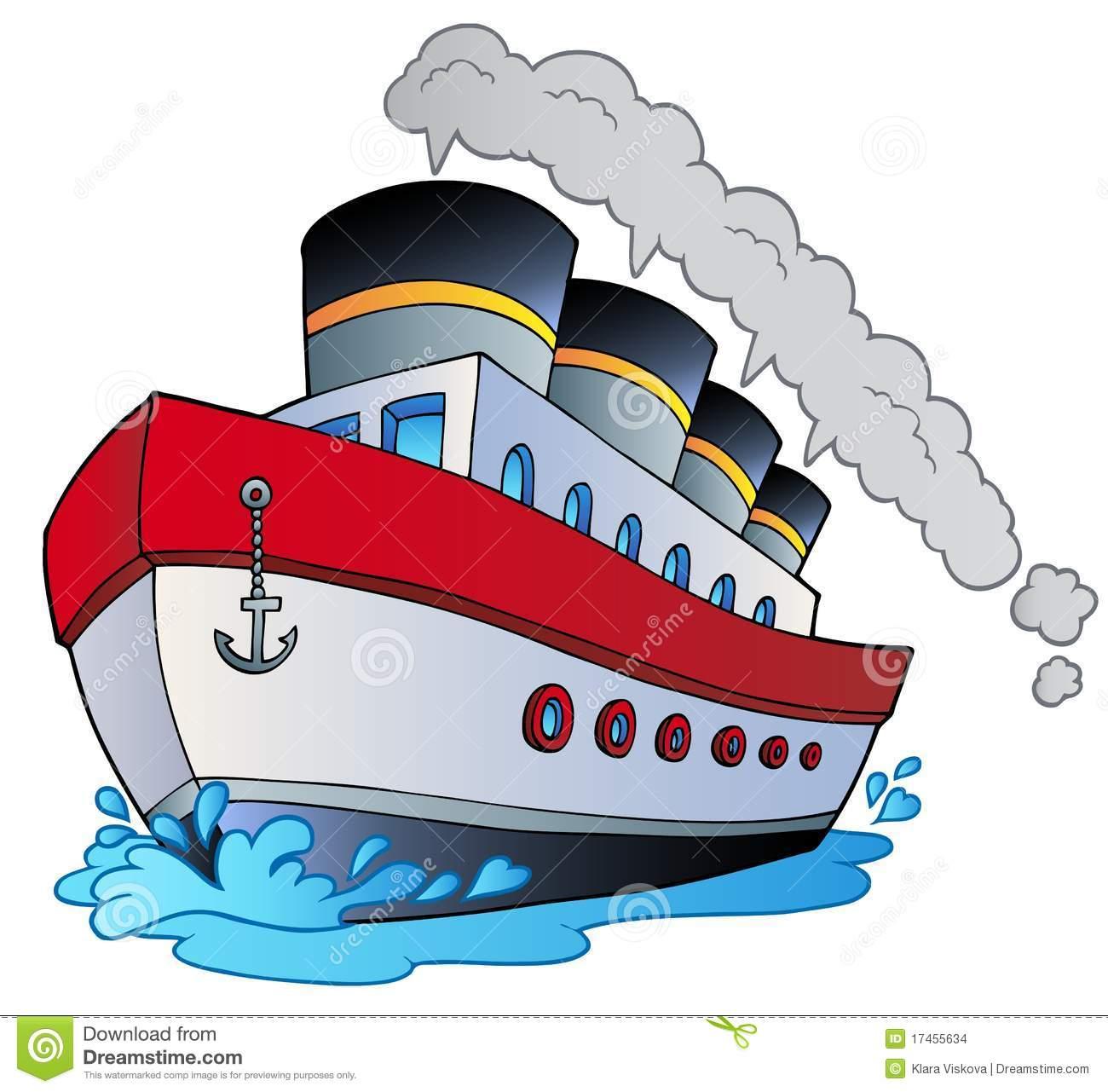 Grand Navire À Vapeur De Dessin Animé Illustration De à Paquebot Dessin