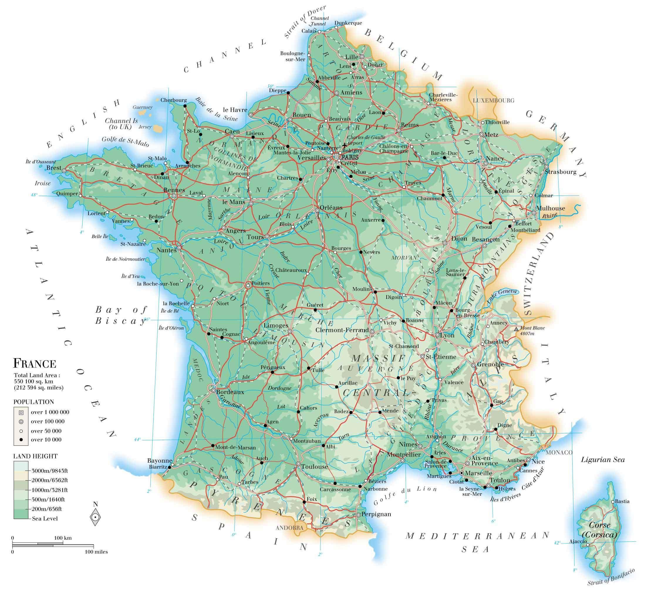 Grande Carte De France, Grande Carte De France avec Carte Des Fleuves De France