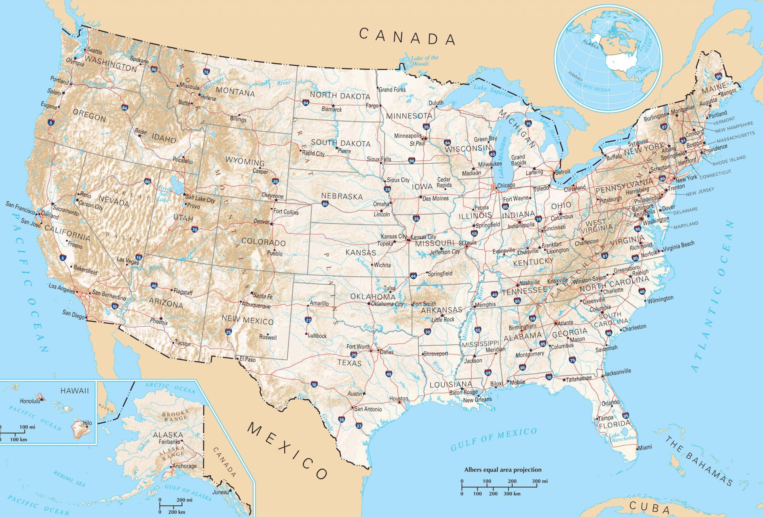 Grande Carte États-Unis, Grande Carte Des États-Unis destiné Carte Des Etats Unis À Imprimer