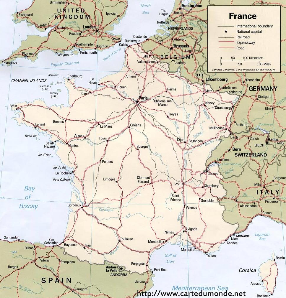 Grande Carte France Sur Carte Du Monde pour Carte De France A Imprimer