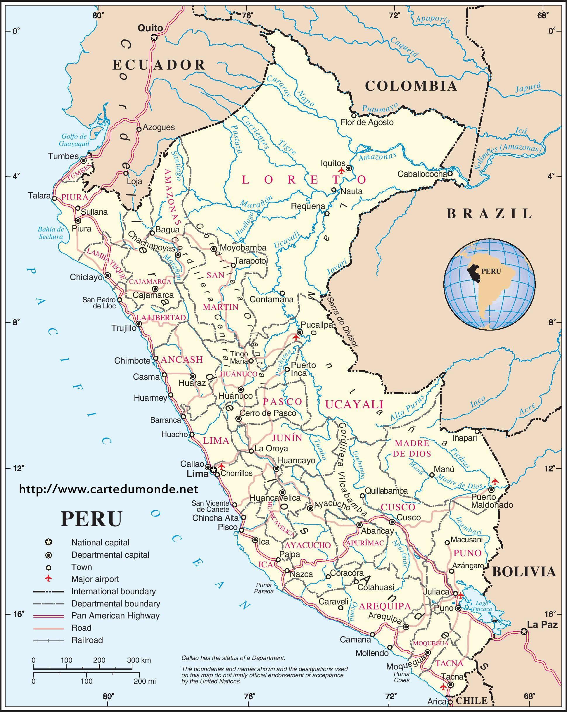 Grande Carte Pérou Sur Carte Du Monde intérieur Carte D Europe À Imprimer
