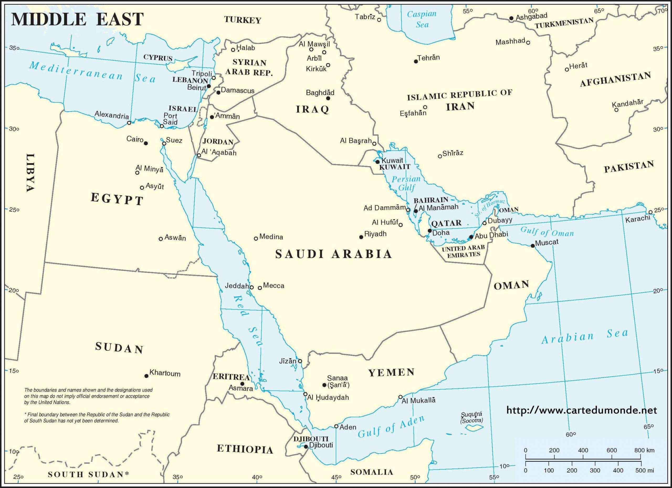 Grande Carte Région Du Moyen-Orient Continent encequiconcerne Carte Des Régions Vierge