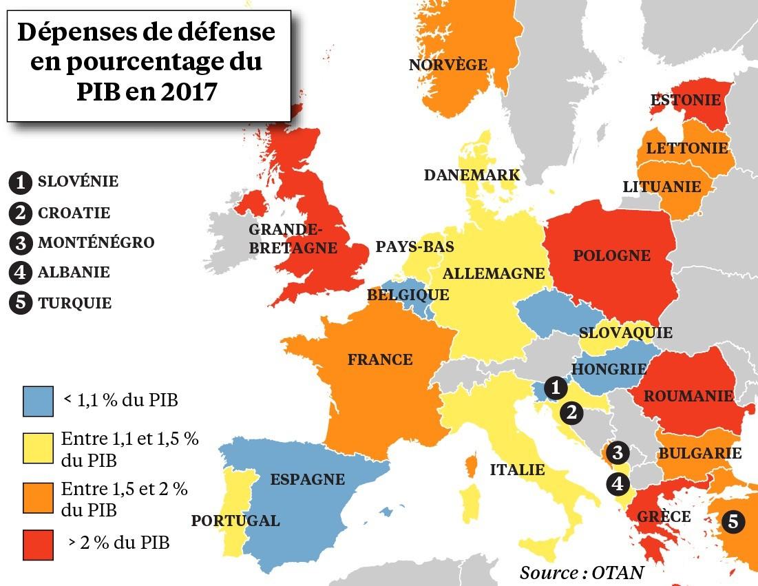 Graphie - Dépenses Militaires : L'europe Ne Pèse Pas Lourd dedans Carte Union Européenne 2017
