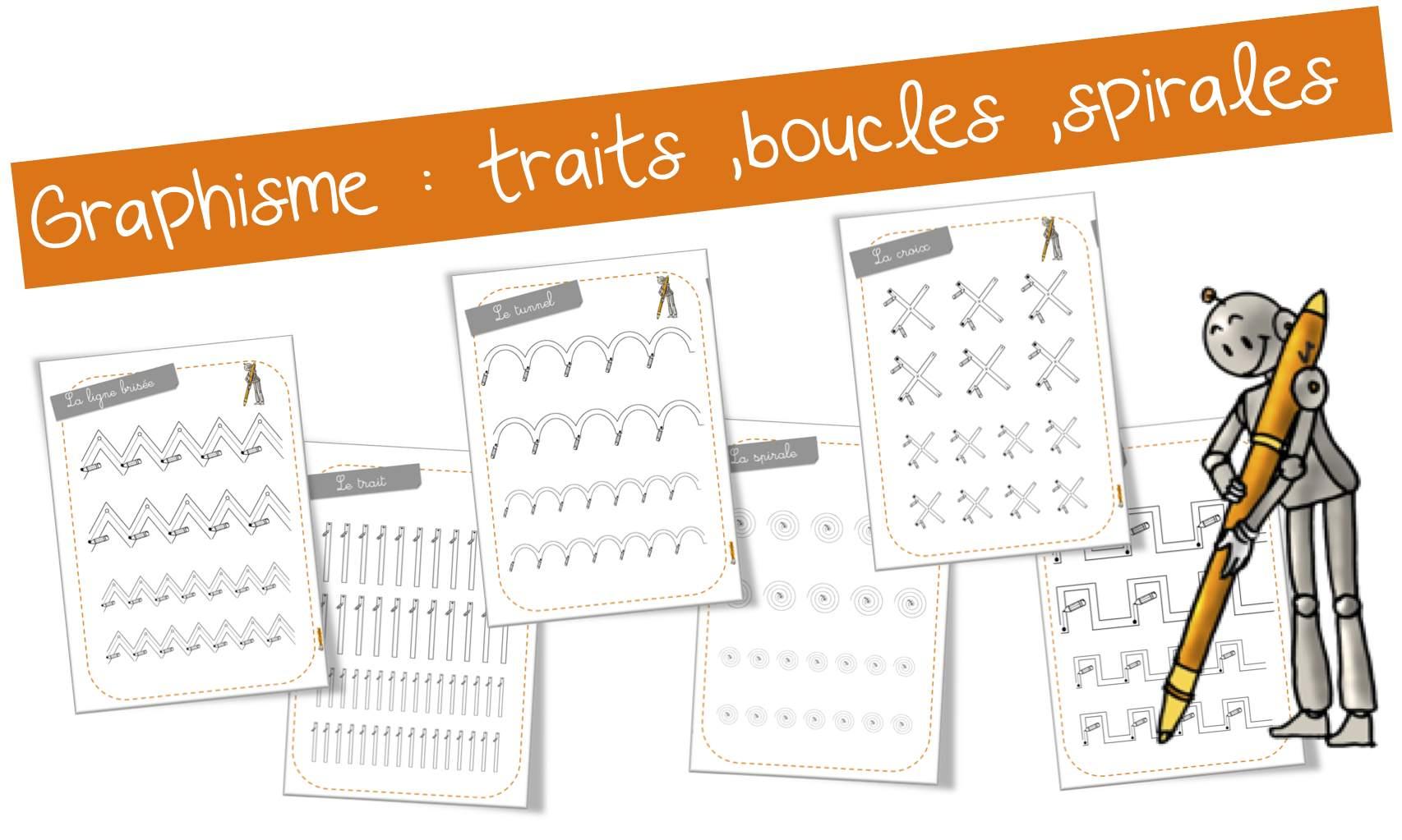Graphisme : Les Traits , Boucles, Spirales , Ponts … | Bout avec Exercice Graphisme Cp