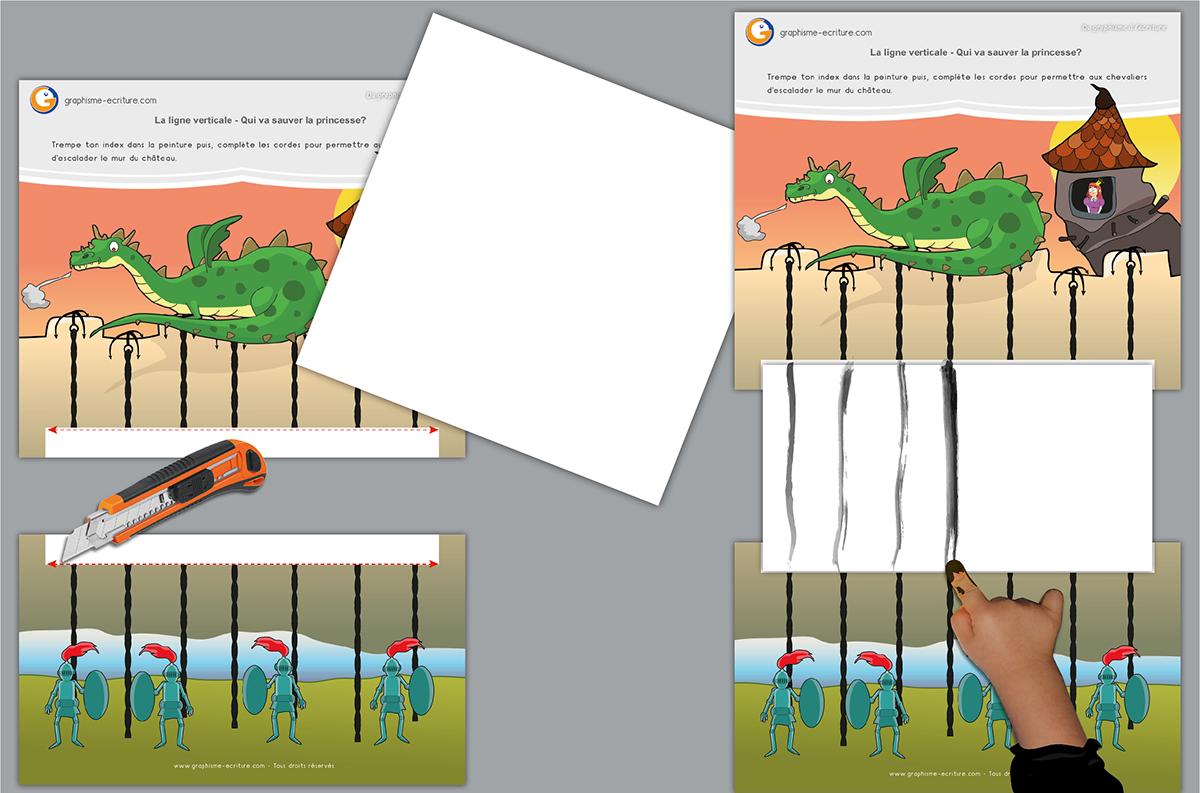 Graphisme Petite Section – Ligne Verticale : Peinture Au Doigt tout Exercice Maternelle Petite Section