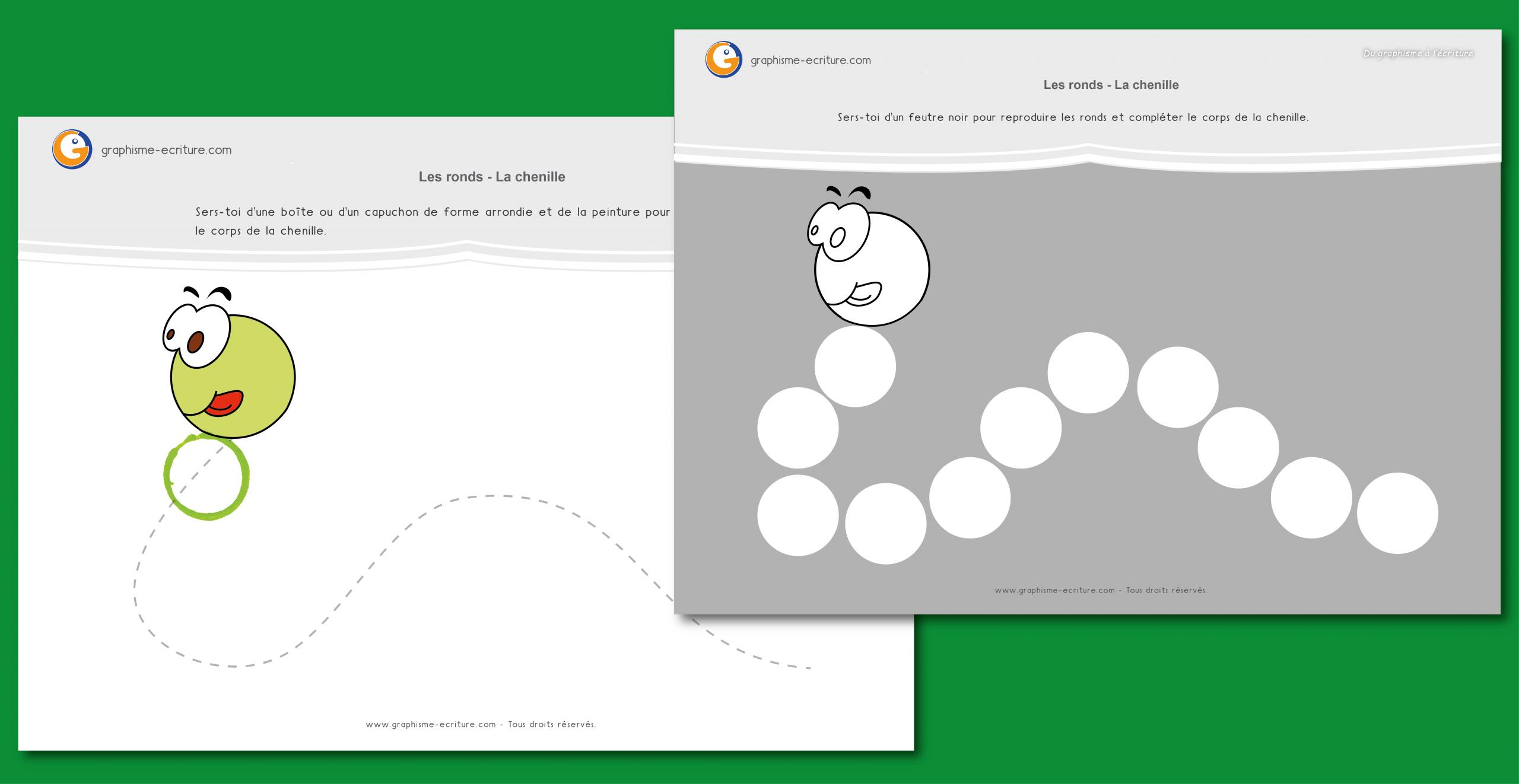 Graphisme Petite Section Ronds : Le Corps De La Chenille avec Exercice Maternelle Petite Section