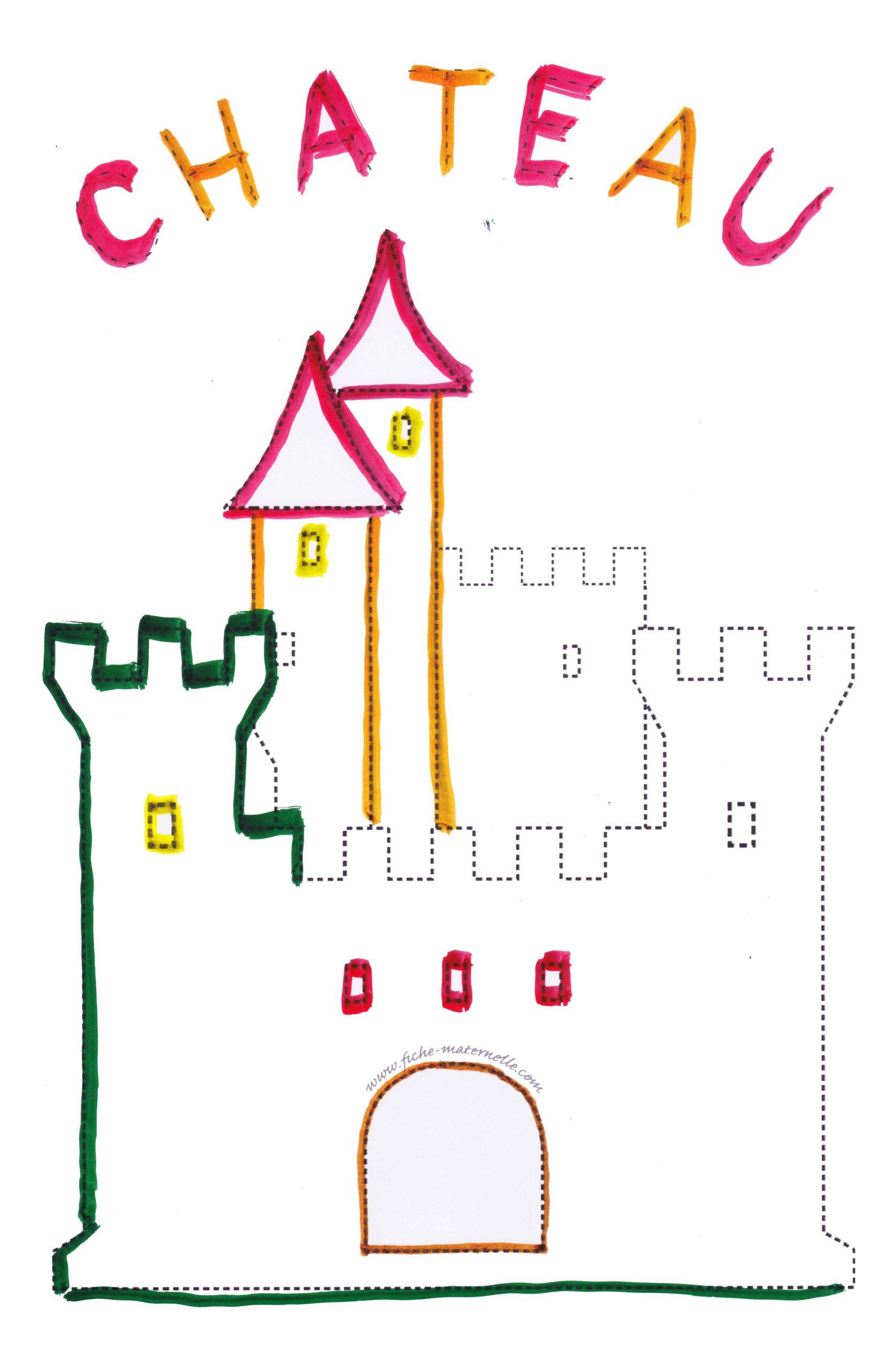 Graphisme Repasser Les Pointillés Du Château Fort à Image De Chateau Fort A Imprimer