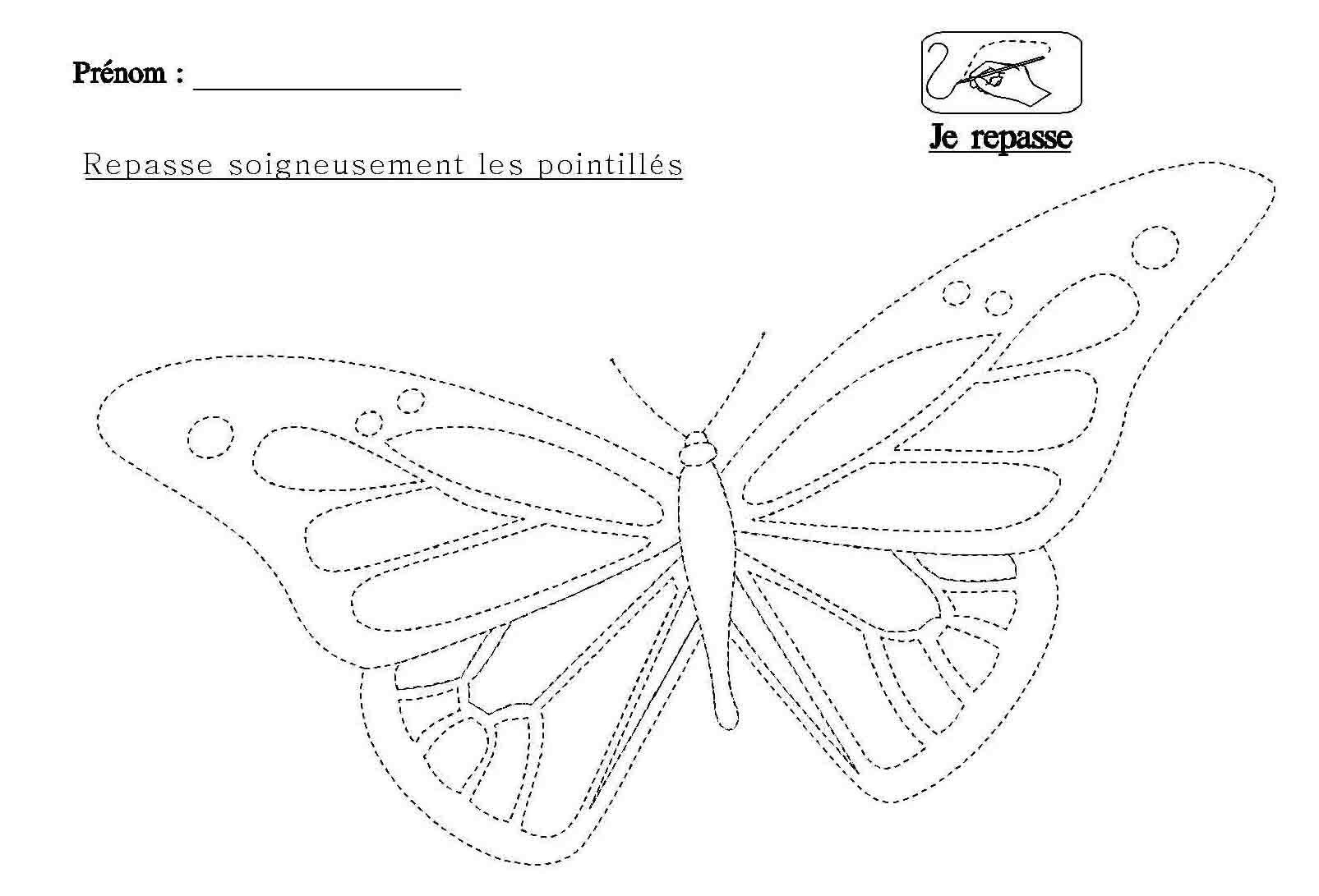 Graphisme Repasser Les Pointillés Du Papillon | Papillon destiné Dessin En Pointillé
