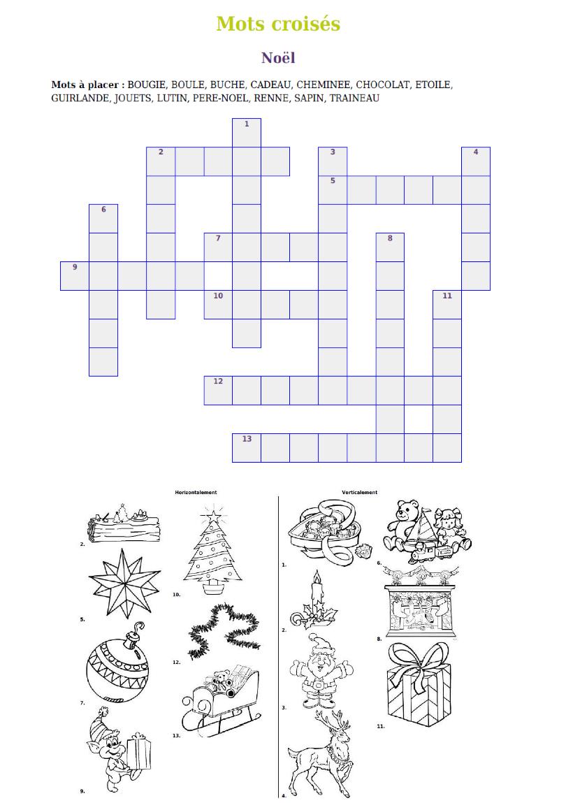 Gratuit- Mot-Croisé De Noël À Imprimer. | Jeux Noel, Noel à Mots Croisés Gratuits À Imprimer Cycle 3