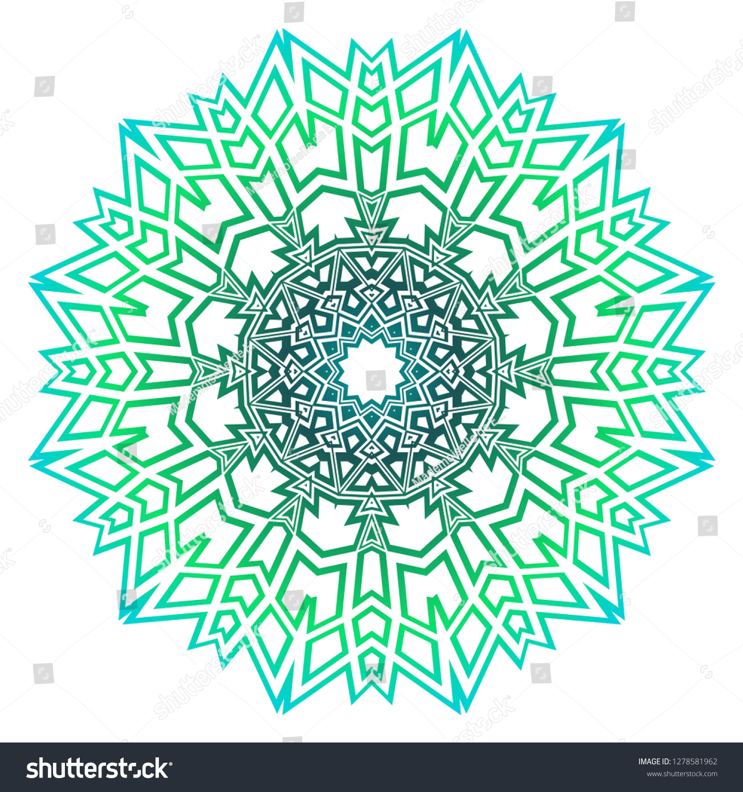 Green Color Mandala Tribal Ethnic Ornament Stock Vector dedans Mandala Fée