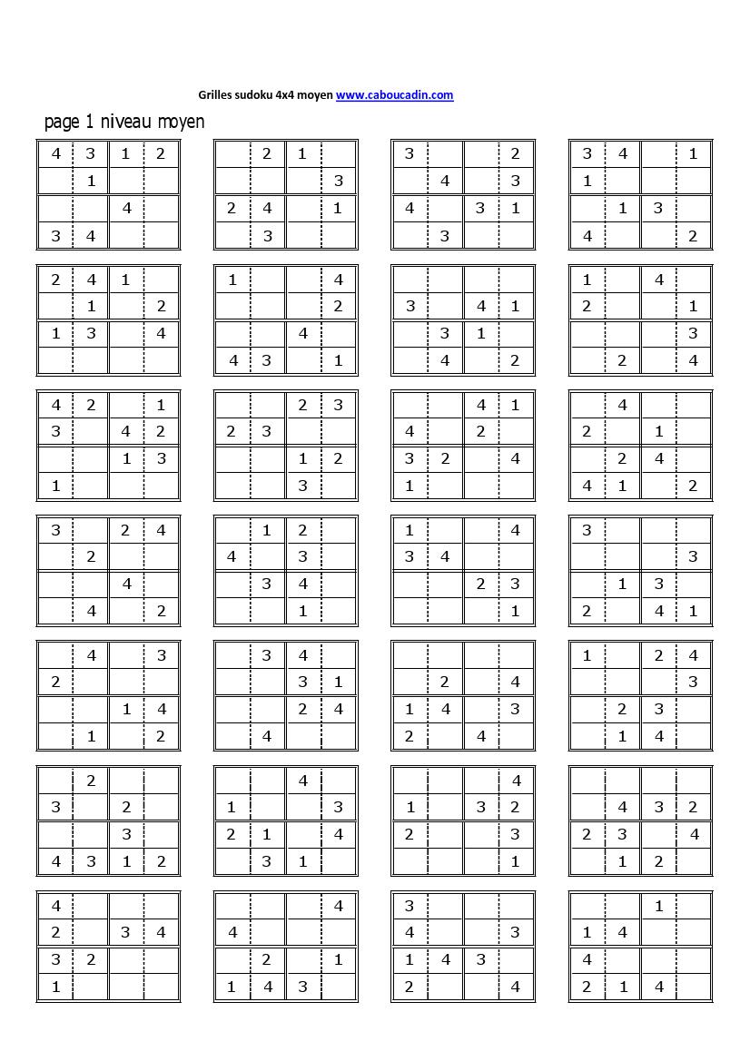 Grilles-Sudoku-4X4-Niveau-Moyen-1 826 × 1 169 Pixels tout Sudoku Lettres À Imprimer