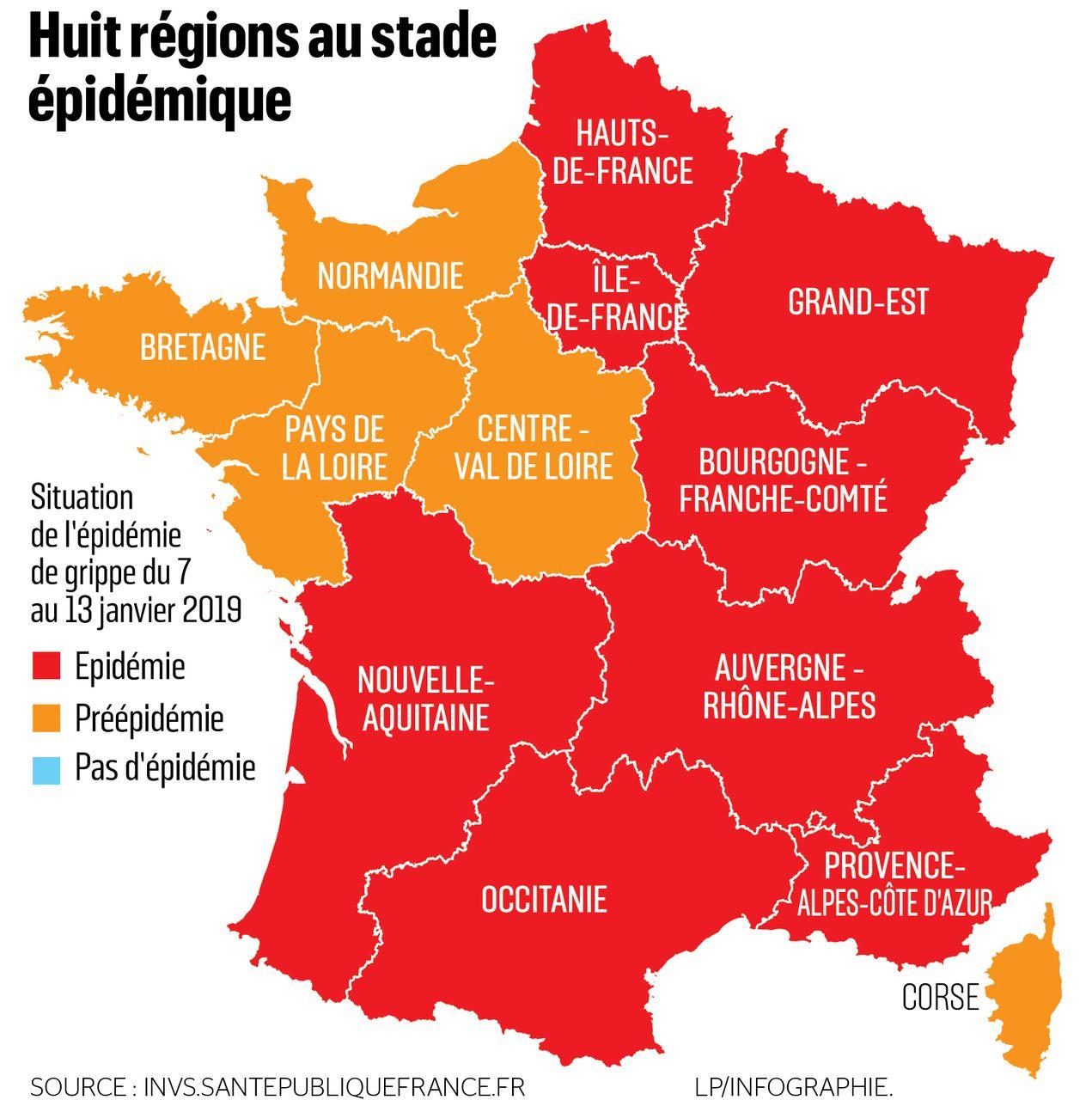 Grippe : L'épidémie S'étend Désormais À Huit Régions - Le pour Carte De France Et Ses Régions