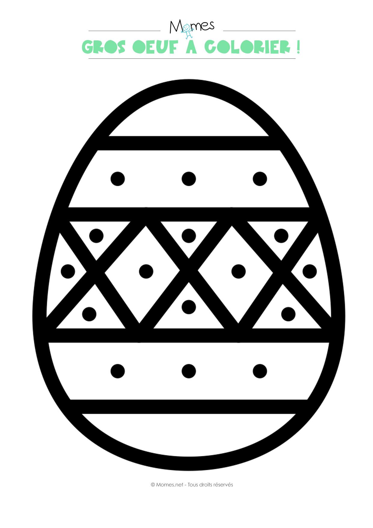 Gros Oeuf De Pâques À Colorier - Momes avec Gros Chiffres À Imprimer