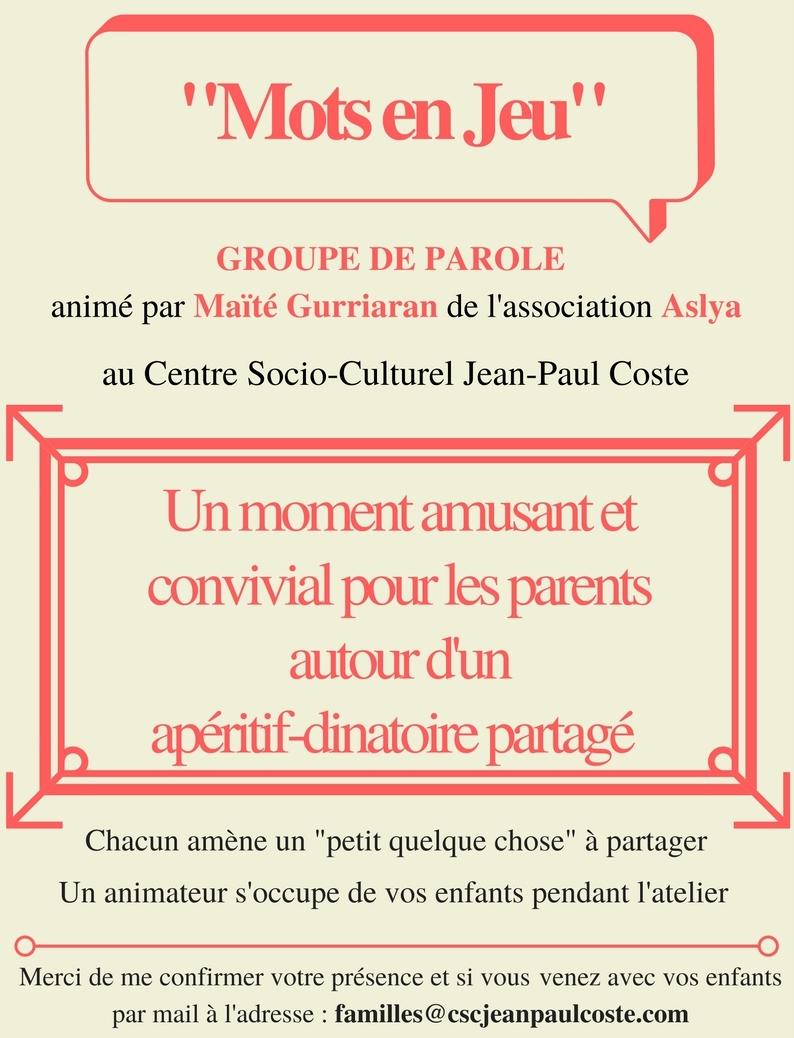 Groupe De Parole « Mots En Jeu » Le Mardi 06 Novembre 2018 encequiconcerne Jeux De Mots Enfants