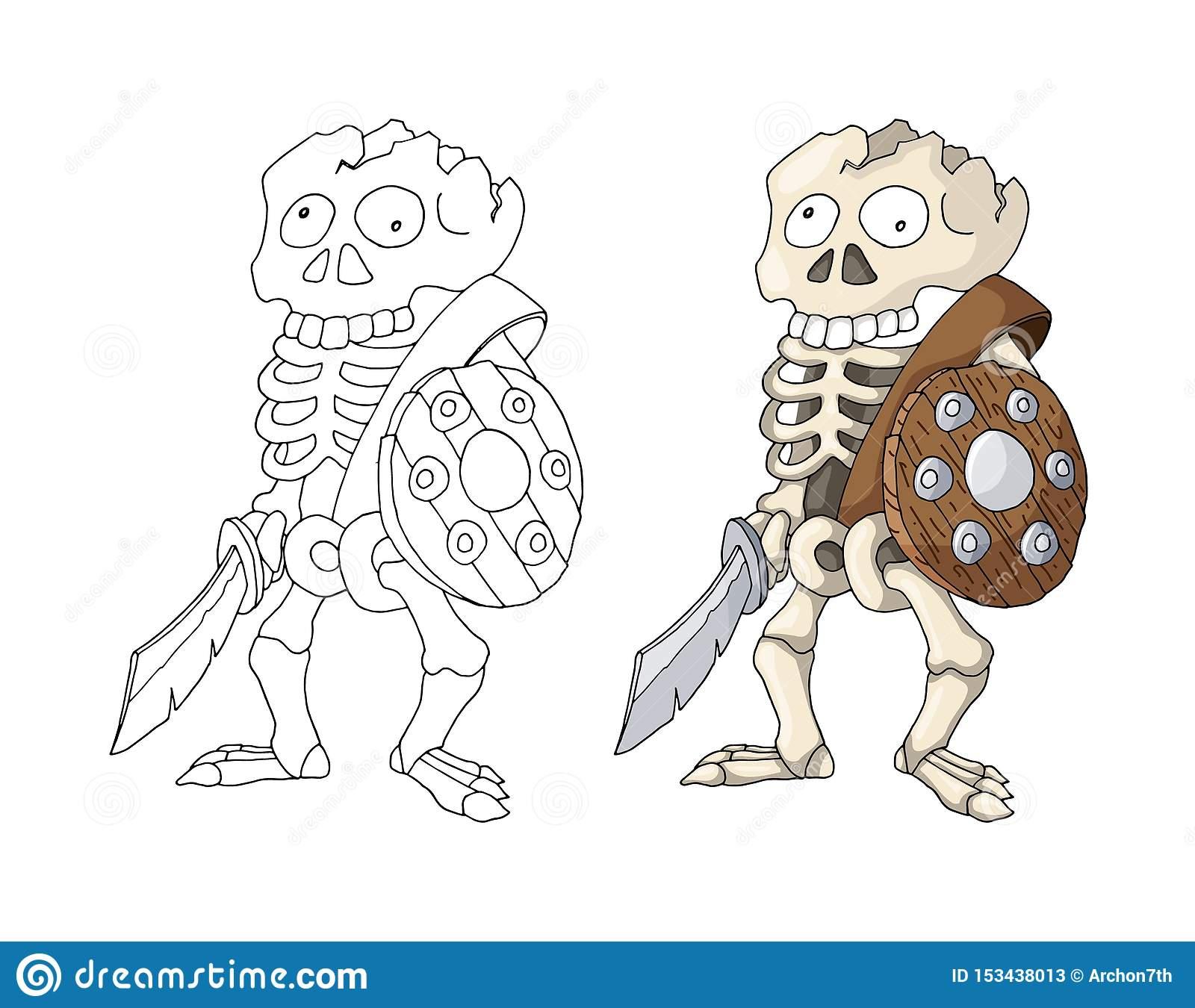Guerrier Squelettique Humain Se Tenant Avec L'épée Et Le serapportantà Coloriage D Épée