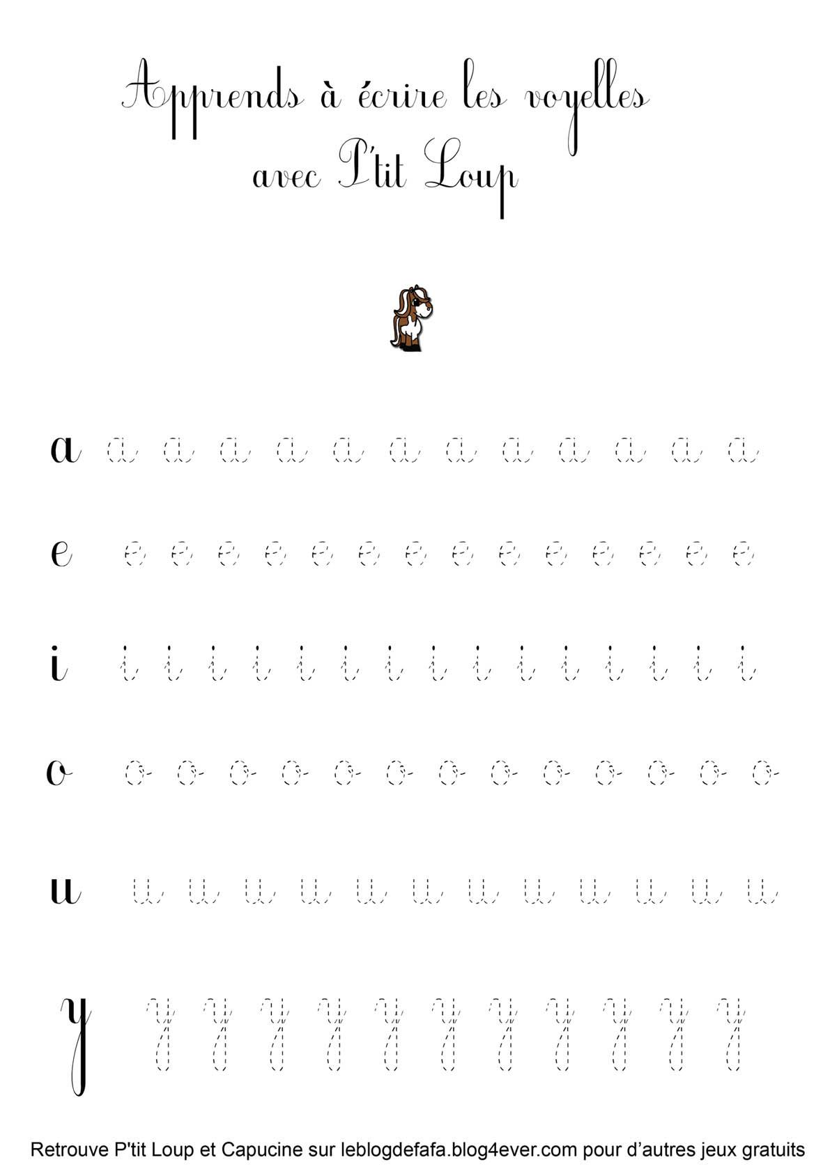 Guide D'écriture Gratuit À Imprimer: Les Voyelles Avec Le dedans Jeux D Écriture Gratuit