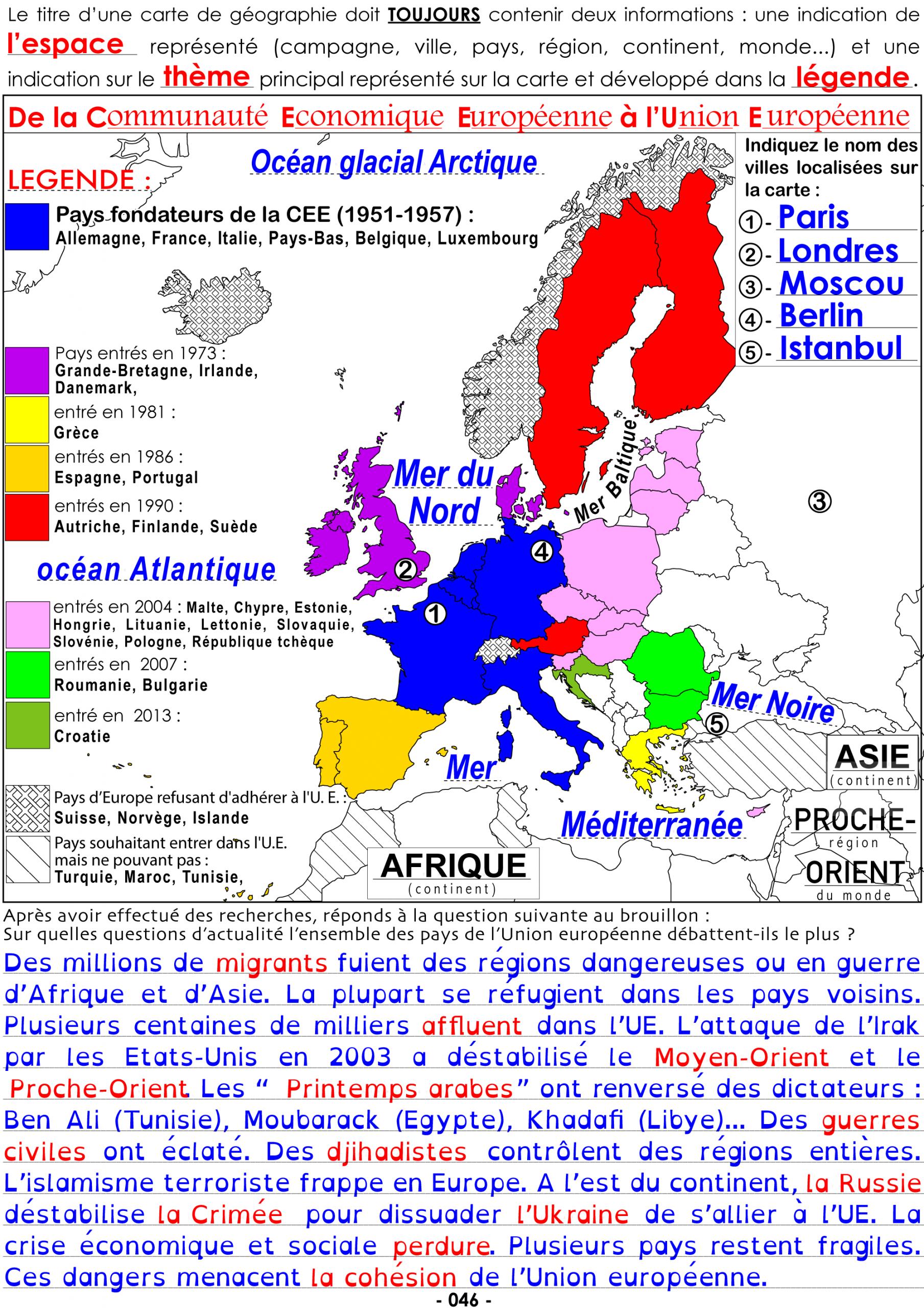H3-P046-Fc-Carte-De La Cee À L'union Européenne – Collège avec Carte Union Européenne 2017