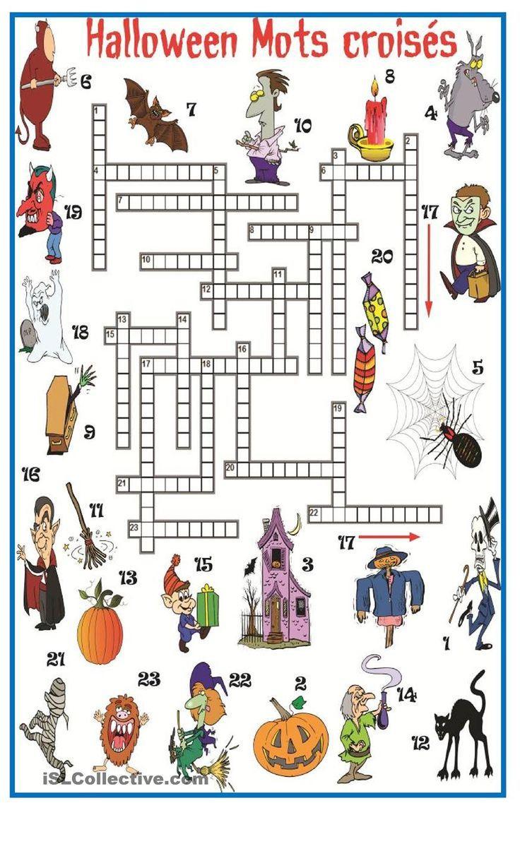 Halloween Mots Croisés (Avec Images) | Jeux Halloween intérieur Mots Croisés Avec Image