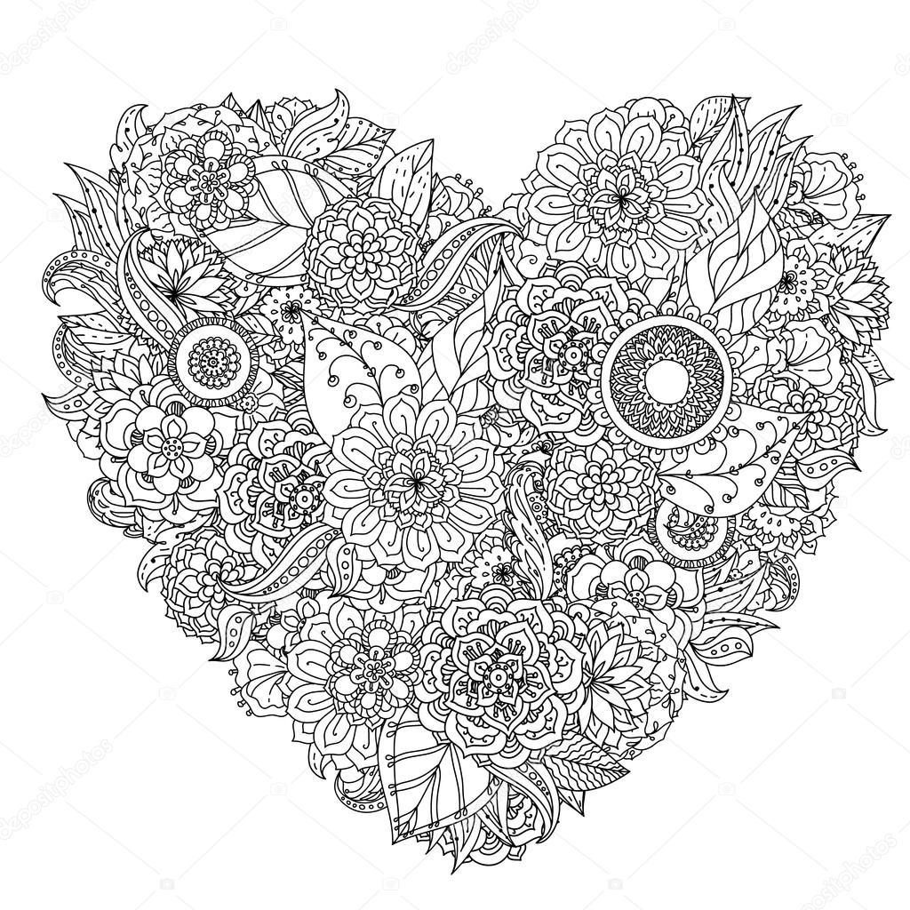 Hand Drawing Zentangle Element. Black And White. Flower à Dessiner Un Mandala