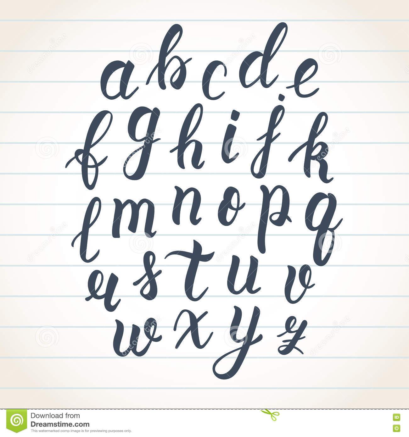 Hand Drawn Latin Calligraphy Brush Script Of Lowercase dedans Alphabet Script Minuscule