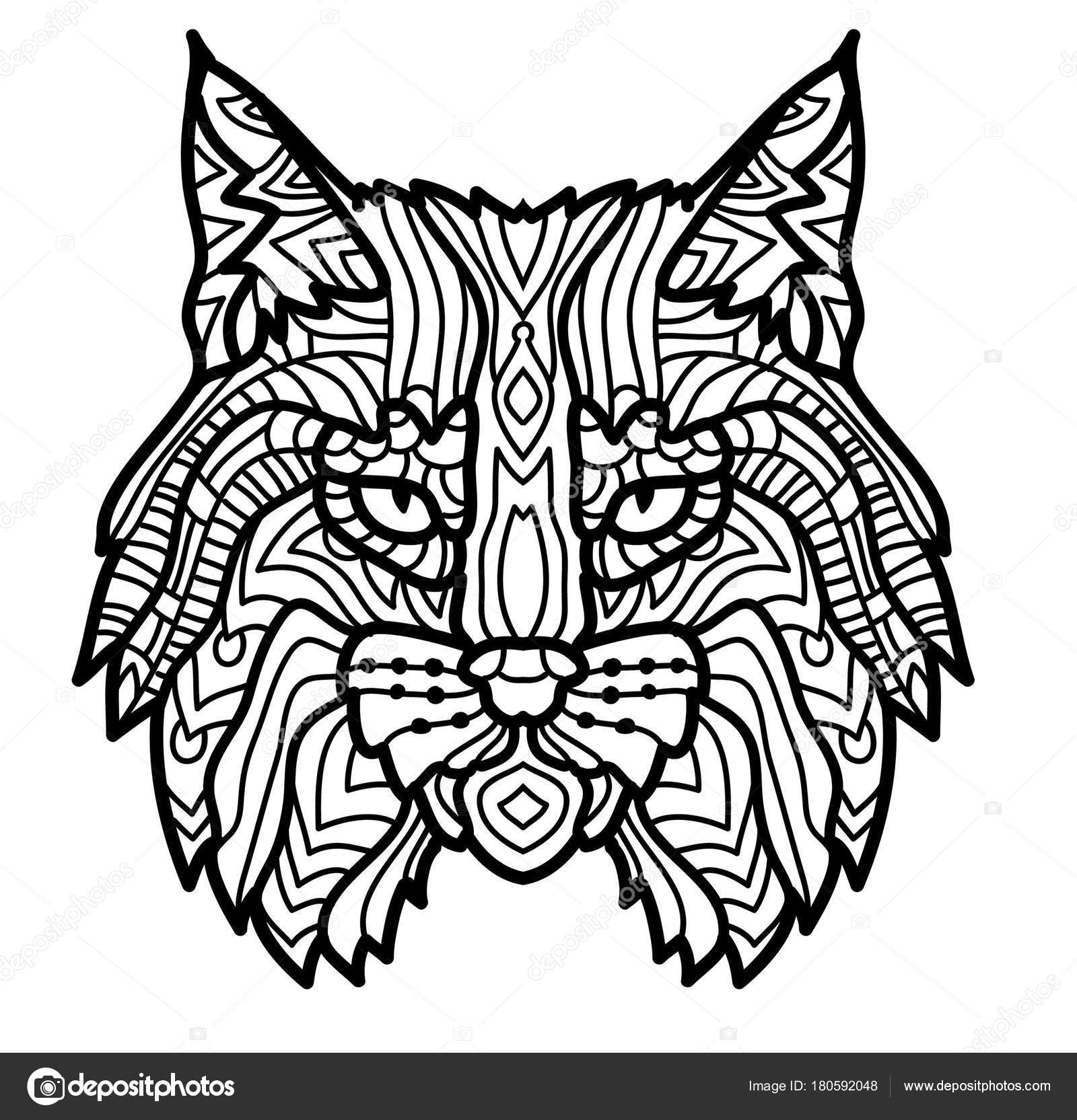 Hand Drawn Lynx Head Animal Isolated. Doodle Line Graphic avec Dessin Noir Et Blanc Animaux
