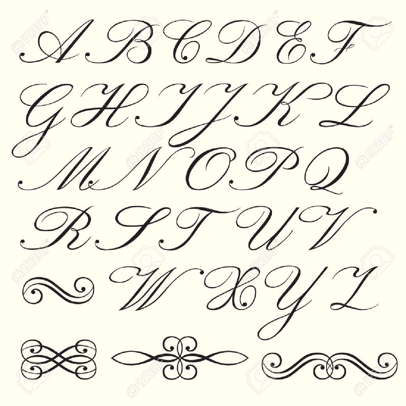 Hand Drawn Script Alphabet tout Alphabet En Script