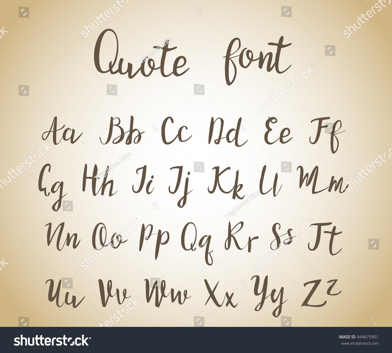 Hand Drawn Vintage Script Quote Font Stok Vektör (Telifsiz encequiconcerne Alphabet En Script