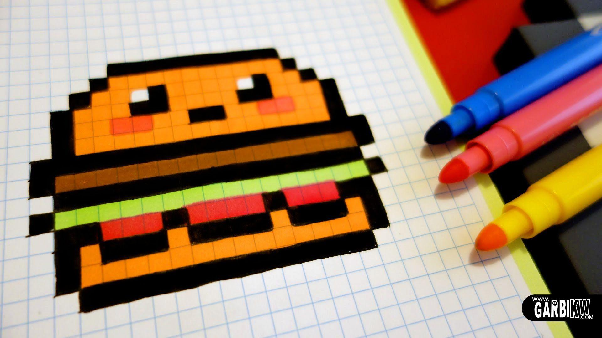 Handmade Pixel Art - How To Draw Kawaii Hamburger #pixelart concernant Modele Dessin Pixel