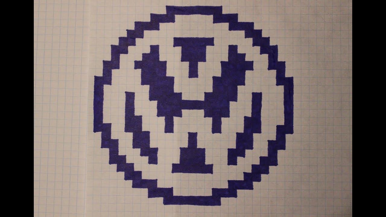Handmade Pixel Art - How To Draw Volkswagen Logo - destiné Voiture Pixel Art