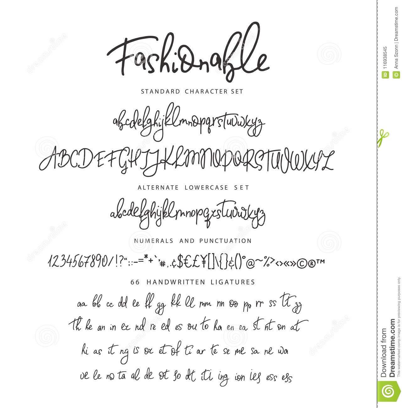 Handrawn Vector Alphabet. Letter For Script Font. Stock avec Alphabet En Script