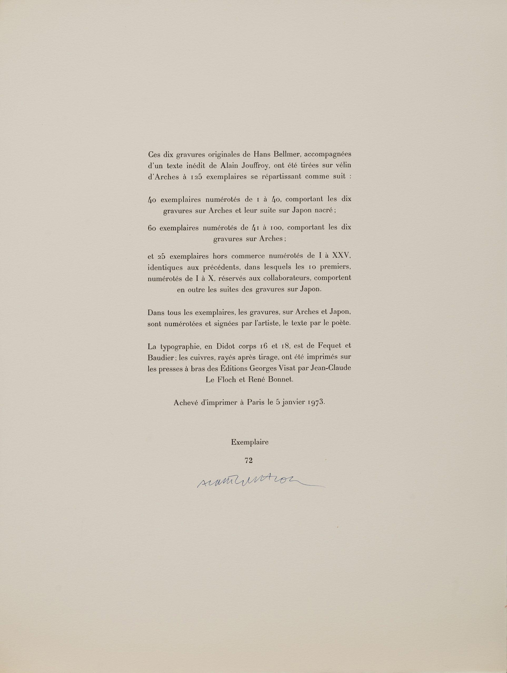"Hans Bellmer, ""les Anagrammes Du Corps"". 10 Etchings, 1973 concernant Anagrammes À Imprimer"