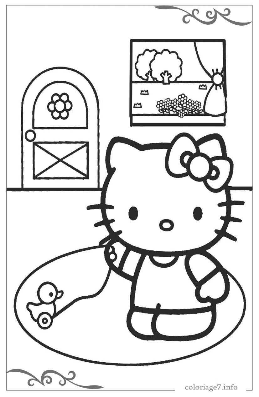 Hello Kitty Coloriages Et Images Gratuits À Colorier concernant Hello Kitty À Dessiner