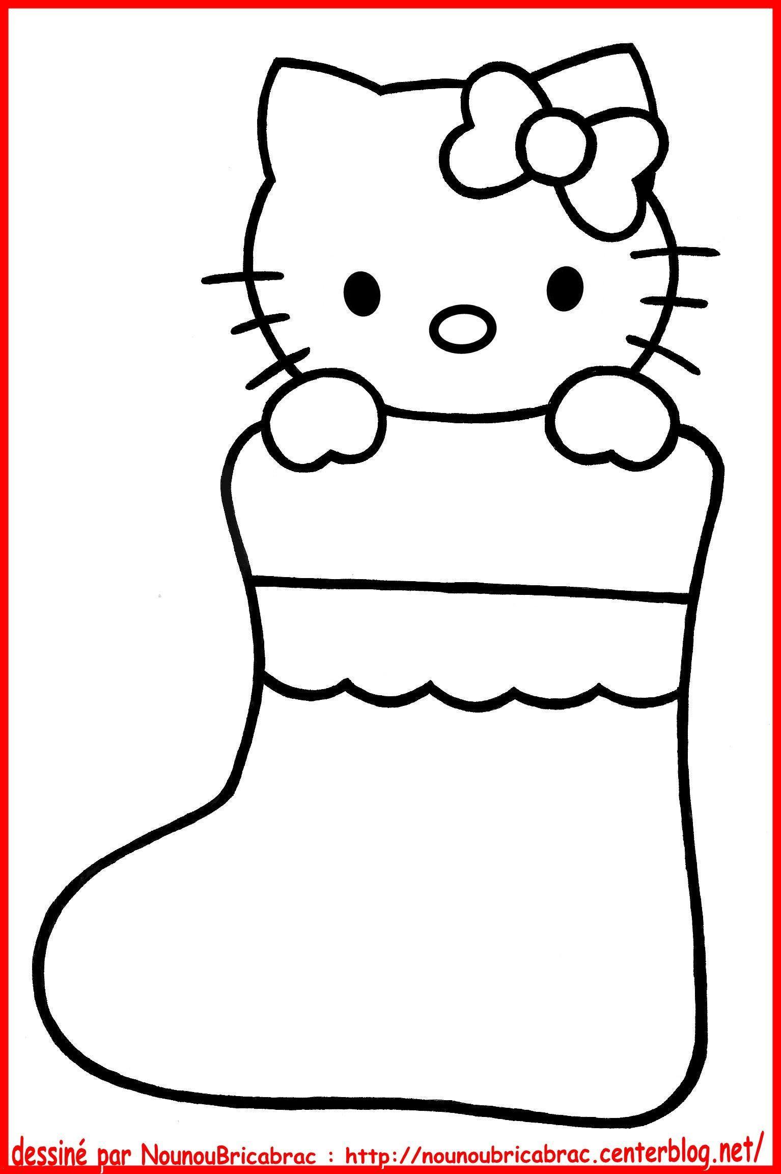 Hello Kitty Dans Un Chausson De Noël À Colorier - Centerblog concernant Hello Kitty À Dessiner