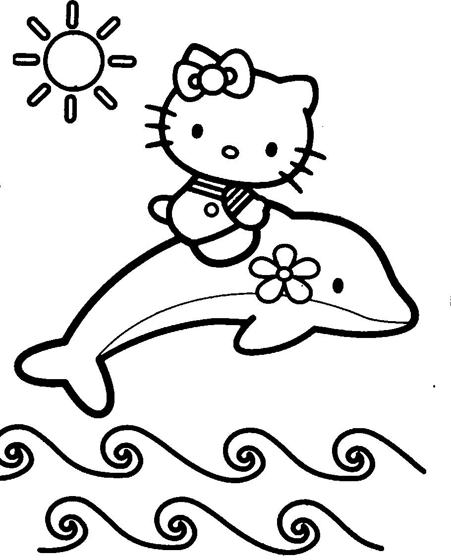 Hello Kitty With Dolphins Coloring Page | Hello Kitty destiné Hello Kitty À Dessiner