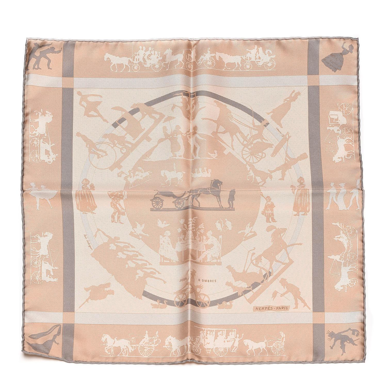 Hermes Silk Jeux D Ombres Pocket Square Scarf Taupe Beige serapportantà Jeux De Taupe