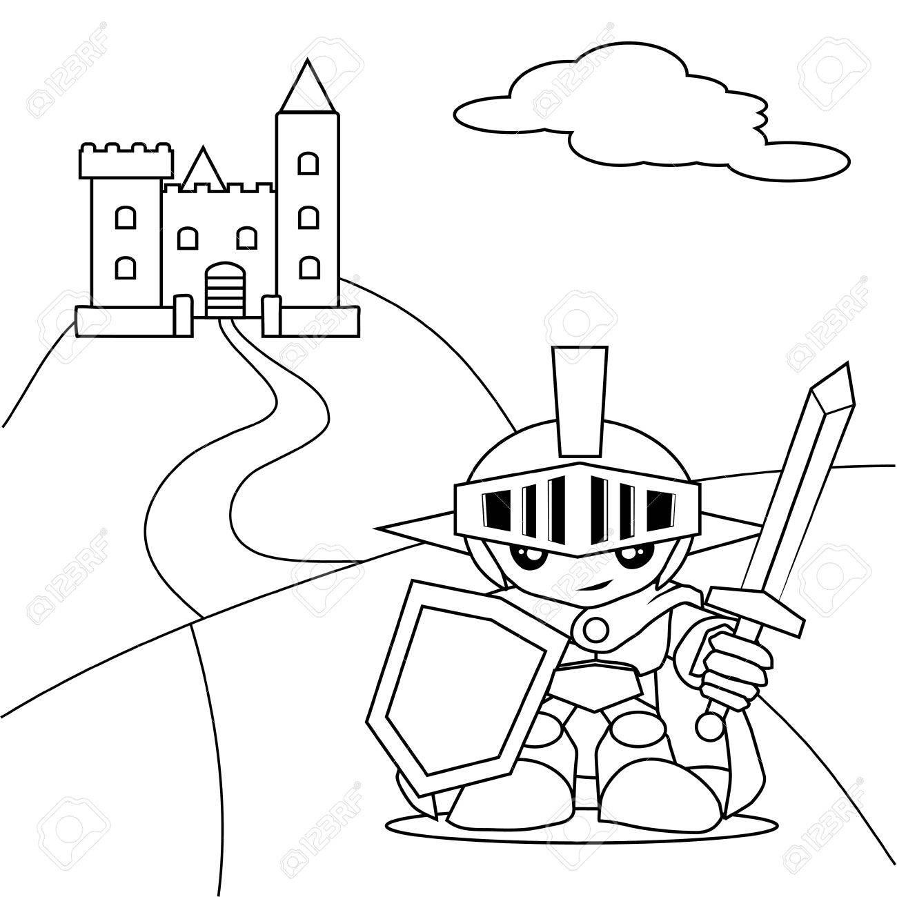 Hero Avec L'épée Et Le Livre De Coloriage De Château intérieur Coloriage D Épée