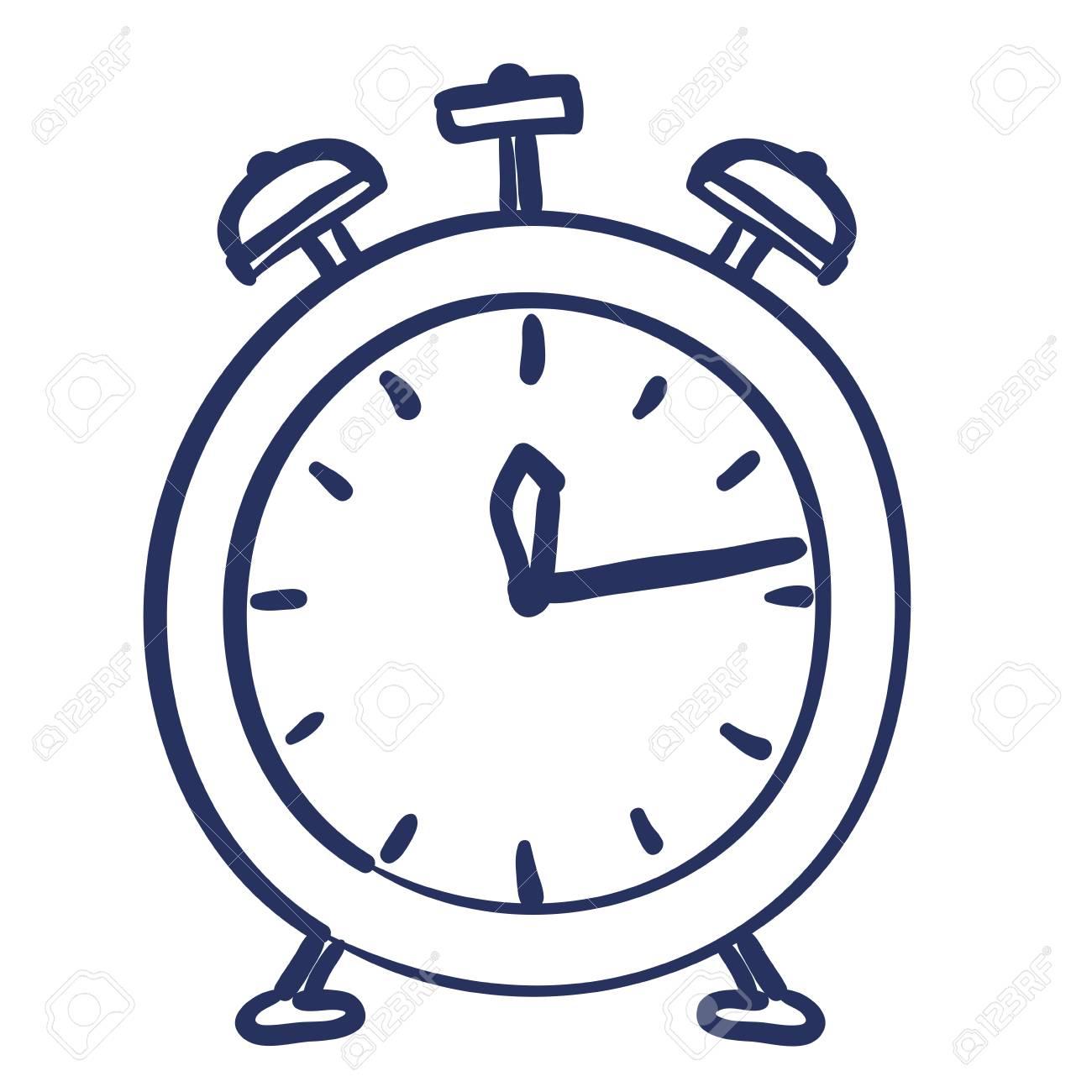 Heure De L'alarme D'horloge Dessin Isolé Conception Icône Vecteur  Illustration dedans Dessin D Horloge