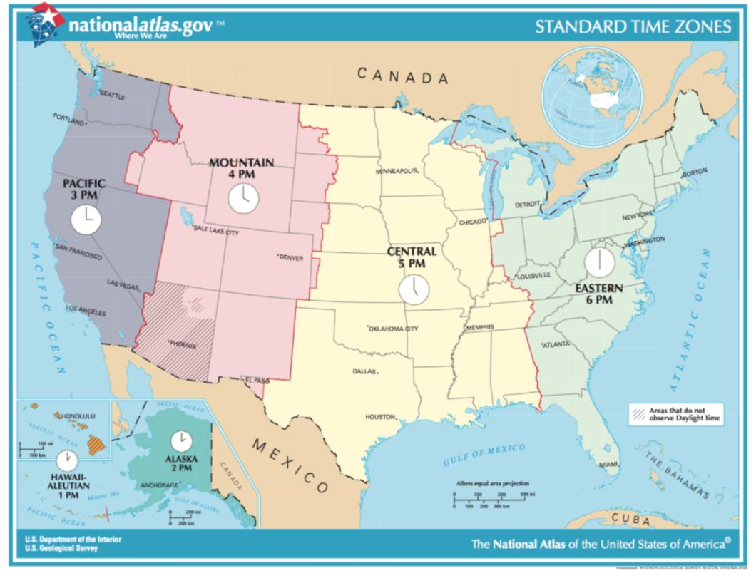 Heures, Horaires Et Fuseaux Horaires Dans L'ouest Américain destiné Carte Etat Amerique