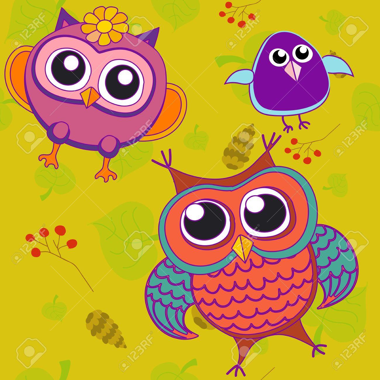 Hibou, Oiseau, Rose, Arbre, Animal, Feuille, Dessin, Illustration, Couleur,  Branche, Vecteur, Art, Vert, Résumé, Fleur, Fond, avec Hibou Dessin Couleur
