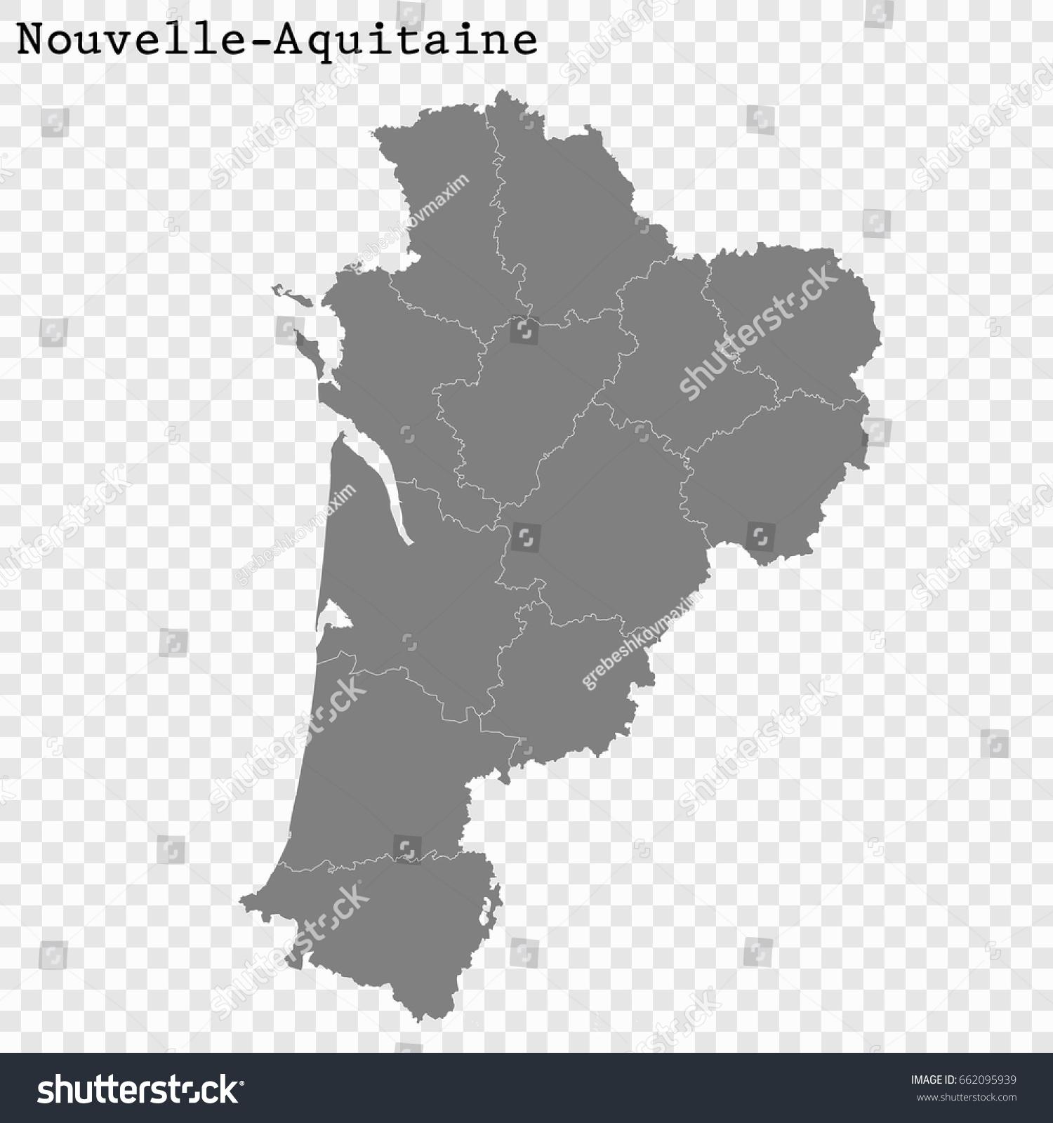 High Quality Map Nouvelleaquitaine Region France Stock Image avec Nouvelle Region France