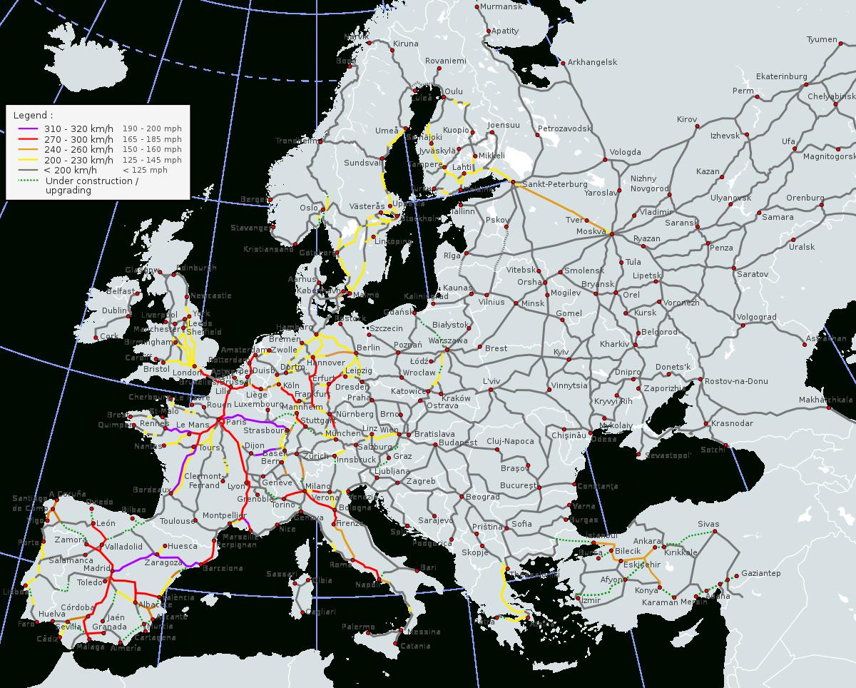 High-Speed Rail In Europe - Wikipedia à Carte Europe 2017