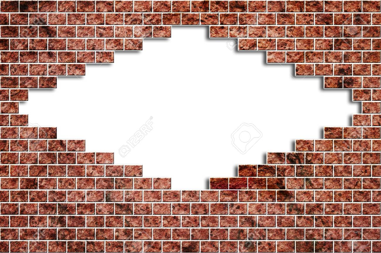 Hole In A Old Brick Wall Realistic Broken On White Background.. intérieur Casse Brick